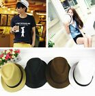 Men Women UnisexFedora Trilby Straw Jazz Panama Hat Cap Flax Sun Beach Hat Cap Z