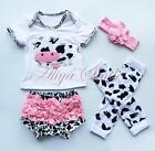 4PCS Baby Girl Headband Cute Cow Top Pants Bloomers Leg Warmers Outfit Set 0-12M