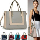 Ladies Fashion Celebrity Tote Bag Two Tone Quality Women's Faux Leather  Handbag