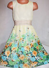 GIRLS YELLOW FLORAL GOLD TRIM GREICAN CALF LENGTH MIDI CHIFFON PARTY DRESS