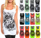 Womens Forever Young Lace Vest Ladies Racer Glitter Rose Mini Dress Plus 8-22