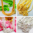 Lots 5/10Pcs Silver Plated/Gold Plated 1.0mm Snake Chain Necklace 43cm