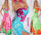 New Sexy Padded Strapless Floral Maxi Dress Size 8-10 Front Split Stretchy Hot