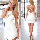 Women's Sexy Cross Halter Sleeveless Backless Slim Cocktail Party Bodycon Dress