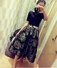 Women Fashion Floral Ball Gown Chiffon Dresses High Waist Two-piece Dresses S