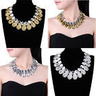 Fashion Vintage Gold Silver Chain Glass Beads Bib Choker Collar Pendant Necklace
