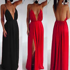 Sexy Womens Deep V Neck Backless Spaghetti Strappy Evening Party Long Maxi Dress