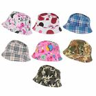 U98 BOYS GIRLS KIDS SUMMER HOLIDAY BUCKET SUN HAT CIRCLES CAMOUFLAGE CHECK HAT