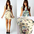 Womens Noble Chiffon Floral Butterfly Print Swing Work Party Mini Dresses KZ