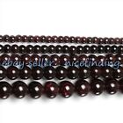 """Round Natural Garnet Gemtone Beads For Jewelry Making Loose Beads 15"""" 2mm-14mm"""