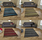 Matrix Modern Striped Rug Machine Made 100% Polypropylene Large Home Decor Mat