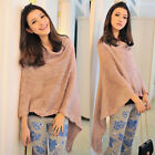 Luxury Fringe Trim Women's Knitting Poncho Coat Knitted Top Cape Outwear Sweater