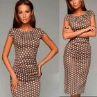 NEW Office Lady Polka Dot Bodycon Party Evening Cocktail Pencil Mini Dress 6-16