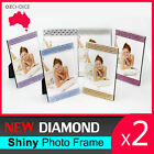 New 2x Diamond Shiny Silver Square Pearl Crystal Photo Frame Home Decoration