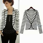 Decorated Anchor Metal Buttons Womens Lapel Striped Blazer Suit Outwear Top 6788