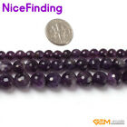 Natural Faceted Amethyst Stone Beads For Jewelry Making Gemstone Loose Beads 15""