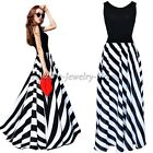 Fashion Women's Boho Striped Long Maxi Evening Cocktail Party Chiffon Dress