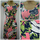 NEW DEBENHAMS MAINE SUN DRESS MIDI FLORAL BLACK PINK GREEN PLUS SIZE 12 - 22