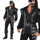 Gothic Black Steampunk Captain Pirate Plundering Adult Halloween Costume Mens