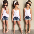 New Baby Girls Sleeveless Top + Denim Pants Set Clothes Kids Summer Outfits 2-7Y