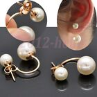 Fashion Women's Stud Earrings Gold Filled Double White Freshwater Pearl HOT!