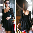 New Women's Black Sexy Lace Long Sleeve Backless Slim Cocktail Party Mini Dress