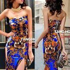 Padded Open Back Strapless Totem Split Bodycon Women's Evening Club Party Dress