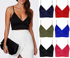 Womens Ladies Party Wrap Bralet Strappy Sleeveless Crop Vest Top Plus Size 16-24