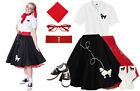 Hip Hop 50s Shop Womens 8 pc Black w/Red Poodle Skirt Outfit Halloween Costume