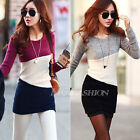 Ladies Knitted Long Sleeve Tops Jumper Sweater Pullover Mini Casual Dress 4 6 8