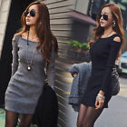 Sexy Womens Ladies Long Sleeve Cocktail Evening Party Bodycon Pencil Mini Dress