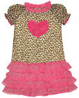 Girls Leopard Print Pink Chiffon Heart Frill Summer Dress 2 to 8 Years NEW