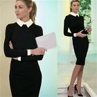 White Collar Color Block Office Work Slim Women's Pencil Shirt Dress Stretchable