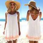 Womens Sleeveless Summer Boho Mini Dress Swimwear Beach Sundress Bikini Cover Up