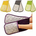 TALLY STRIPE, DOUBLE OVEN GLOVE, 100% COTTON, EXTRA THICK, GREY, YELLOW, PURPLE