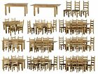 CORONA EXTENDING DINING SET WITH 4, 6 OR 8 CHAIRS, WOOD, BROWN OR CREAM PU SEATS
