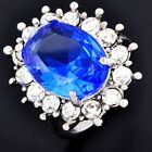 Prince William Wedding Bridal Blue Crystal Clear CZ Womens Ring Size 5 6 7 9