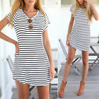Women Summer Beach Dress Party Short Sleeve Stripe Blouse Mini Sundress Tee