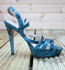 Karen Millen FN141 Turquoise Strappy Leather Summer Platform Sandals Shoes 4 - 5
