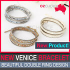 NEW Venice Bracelet with Double Ring Design White Gold Blue Color Fashion