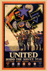 YMCA United Behind The Service Star Soldiers War Vintage Poster Repro FREE S/H