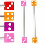 Dice industrial bar barbell earring piercing jewellery 9IBP-CHOOSE LENGTH&COLOUR