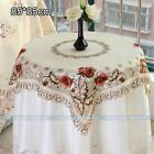 Square Peony Embroidered Cutwork Tablecloth Table Topper Cover Muti-Size #229