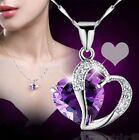 2015 Fashion Women Heart Hot Crystal Charm Silver Chain Pendant Necklace Jewelry
