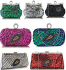 Ladies Sequin Peacock Feather Design Clutch Women's Evening Bags Party Wedding