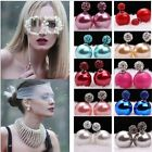 Women Girl`s  Earrings Ear Studs Luxury Double Sided Opal Crystal Pearl Beads
