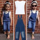 Hot Kids Baby Girls 2 Piece White T-shirt Demin Jeans Set Summer Casual Outfits