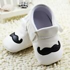 Toddler baby girls boys White PU soft-soled Crib Shoes size 0-6  6-12 12-18month