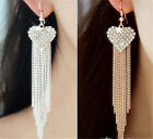 Fashion Elegant Womens Ear Hook Dangle Crystal Long Tassel Rhinestone Earrings