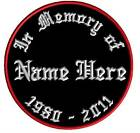 10 Custom Embroidered Name Patches In Memory Memorial Biker Motorcycle Iron on
